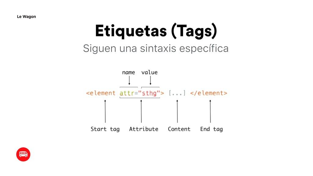 Etiquetas (Tags) Siguen una sintaxis específica...