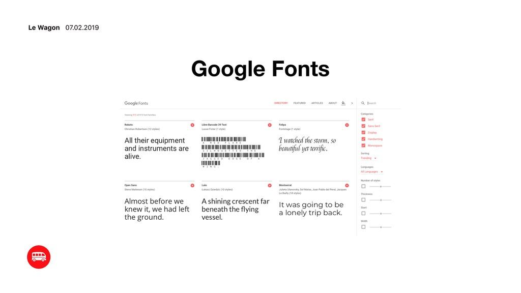 Le Wagon 07.02.2019 Google Fonts