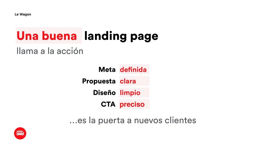 Una buena landing page Le Wagon definida Meta P...