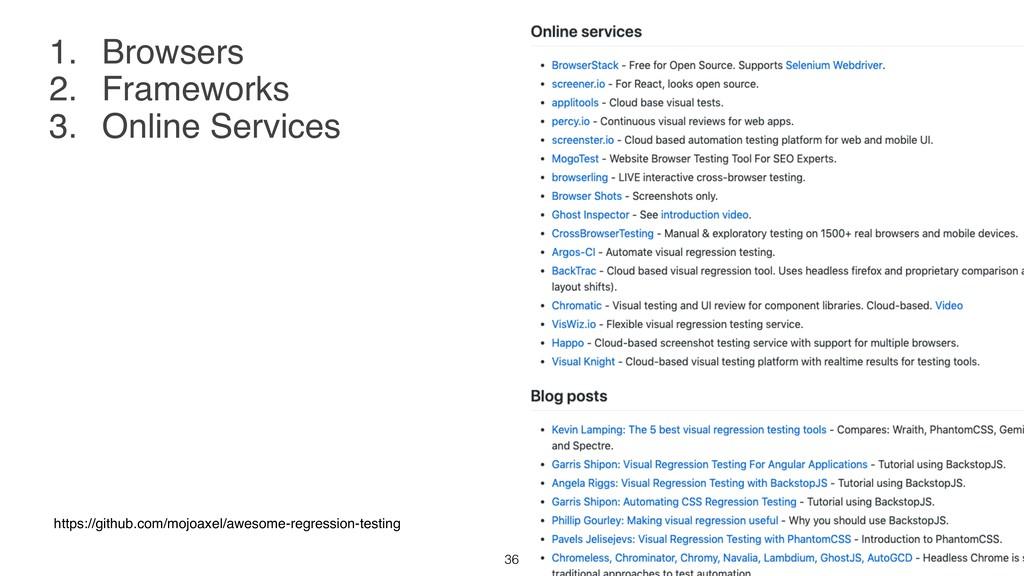 1. Browsers 2. Frameworks 3. Online Services ht...