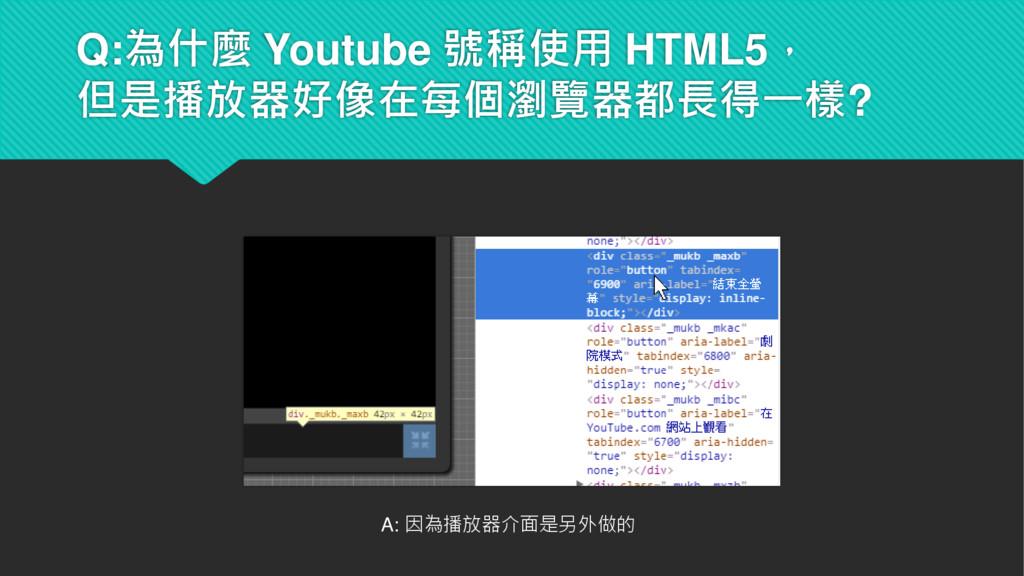 Q:為什麼 Youtube 號稱使用 HTML5, 但是播放器好像在每個瀏覽器都長得一樣? A...