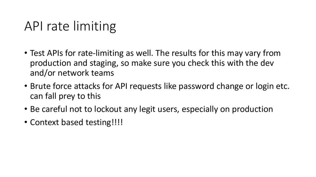 API rate limiting • Test APIs for rate-limiting...