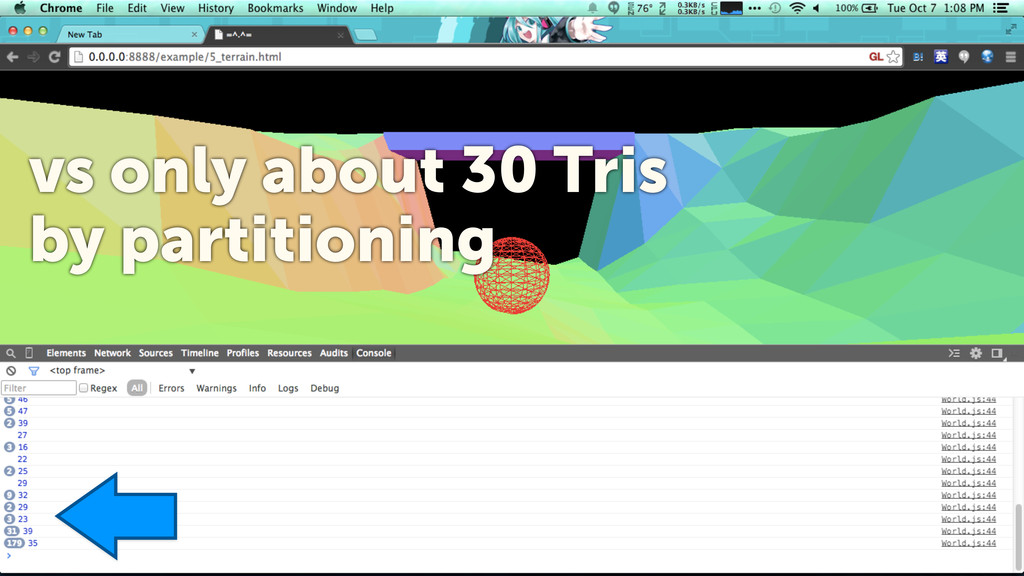 8 vs only about 30 Tris by partitioning