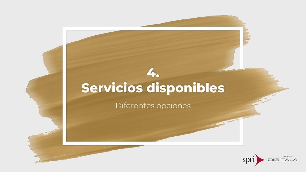 4. Servicios disponibles Diferentes opciones