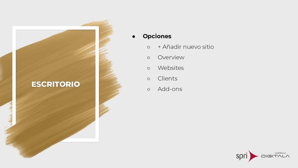 ESCRITORIO ● Opciones ○ + Añadir nuevo sitio ○ ...