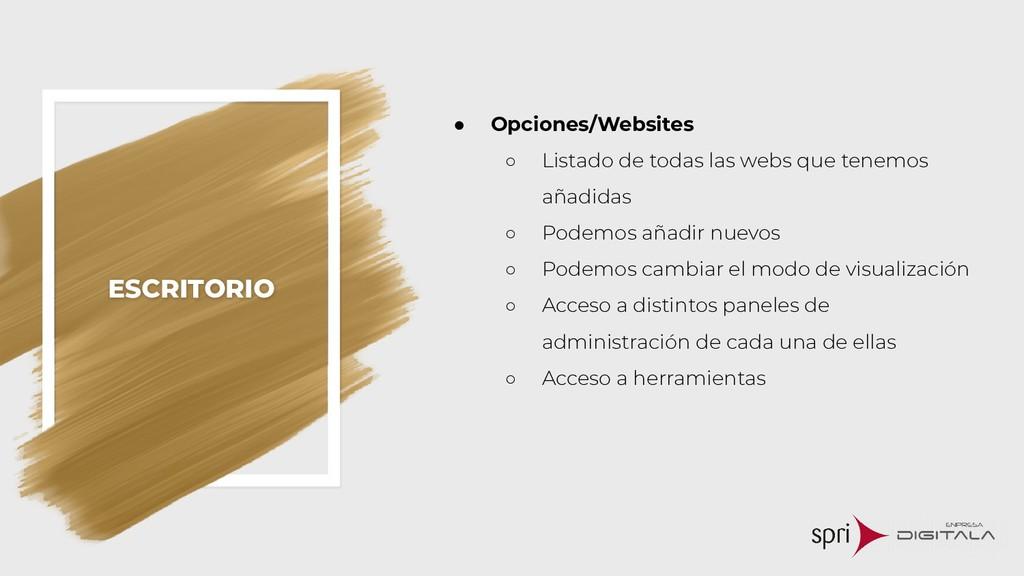 ESCRITORIO ● Opciones/Websites ○ Listado de tod...