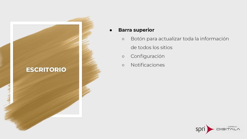 ESCRITORIO ● Barra superior ○ Botón para actual...