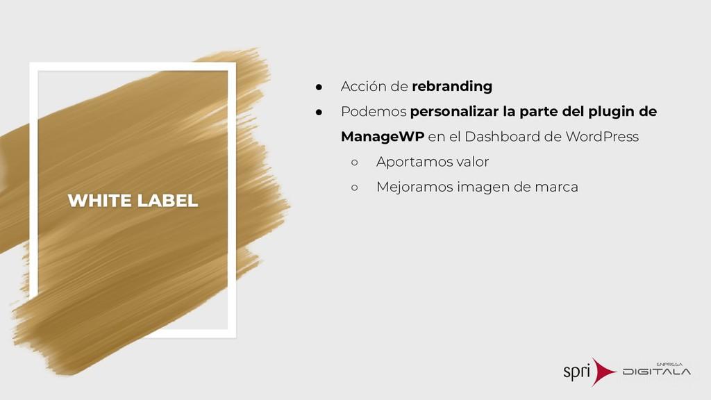 WHITE LABEL ● Acción de rebranding ● Podemos pe...