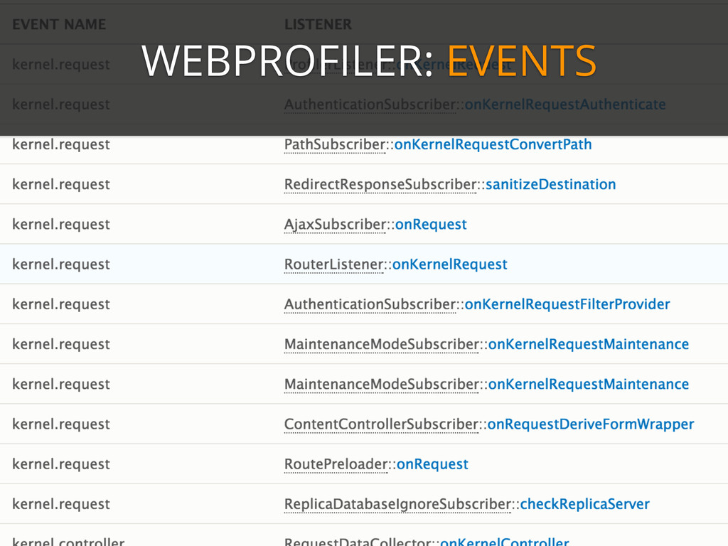 WEBPROFILER: EVENTS
