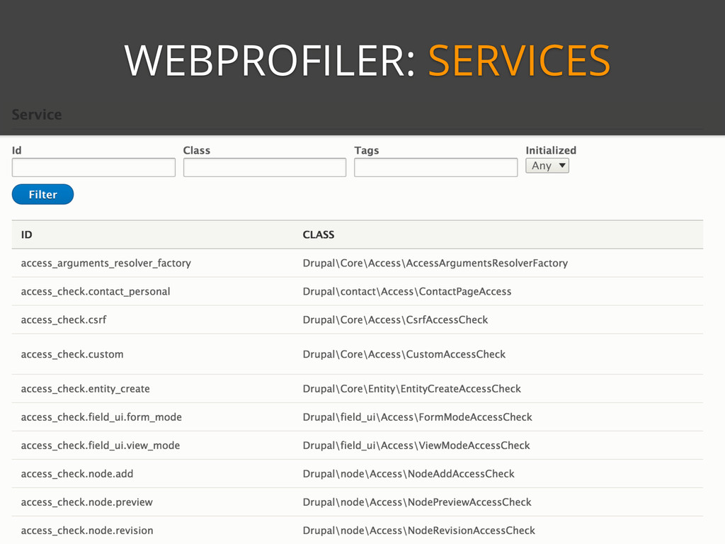 WEBPROFILER: SERVICES