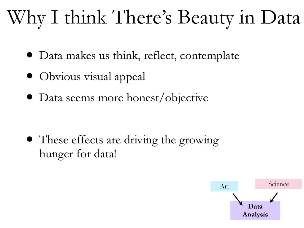 • Data makes us think, reflect, contemplate • O...