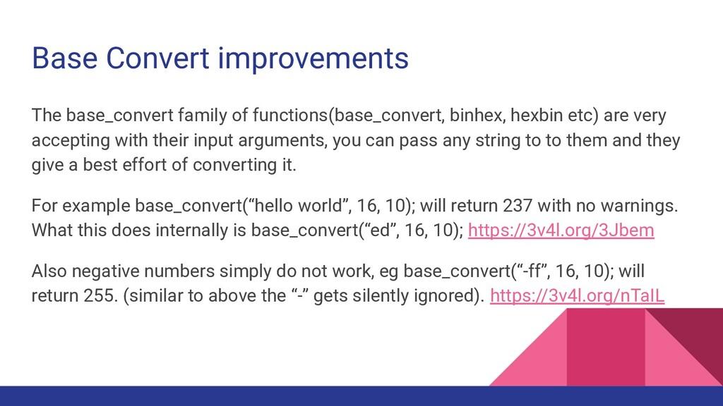 Base Convert improvements The base_convert fami...