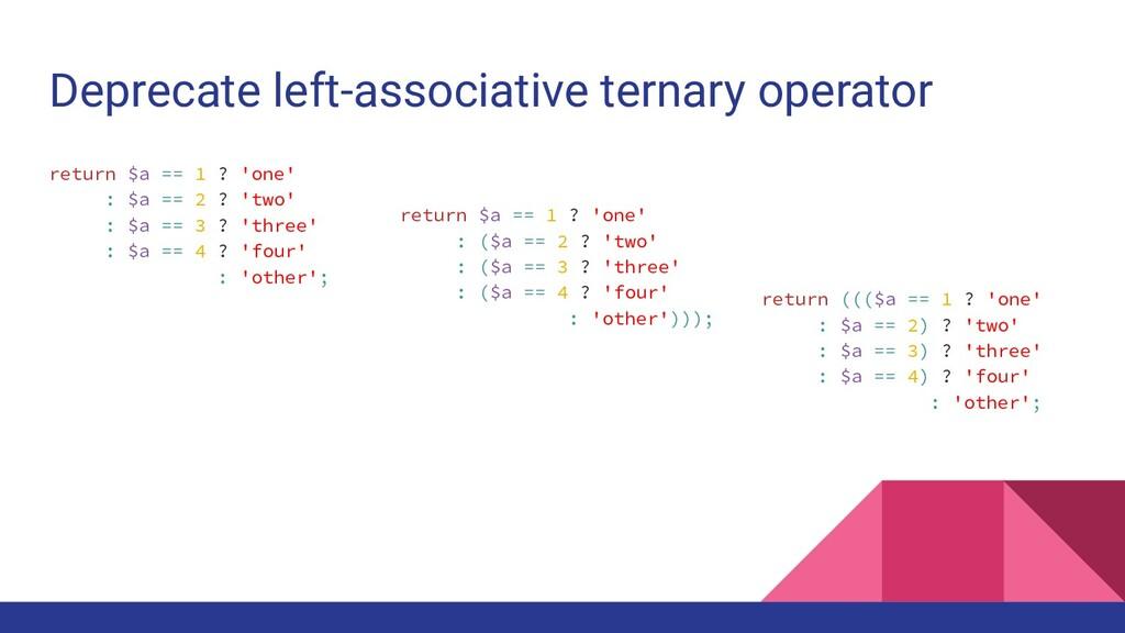 Deprecate left-associative ternary operator ret...