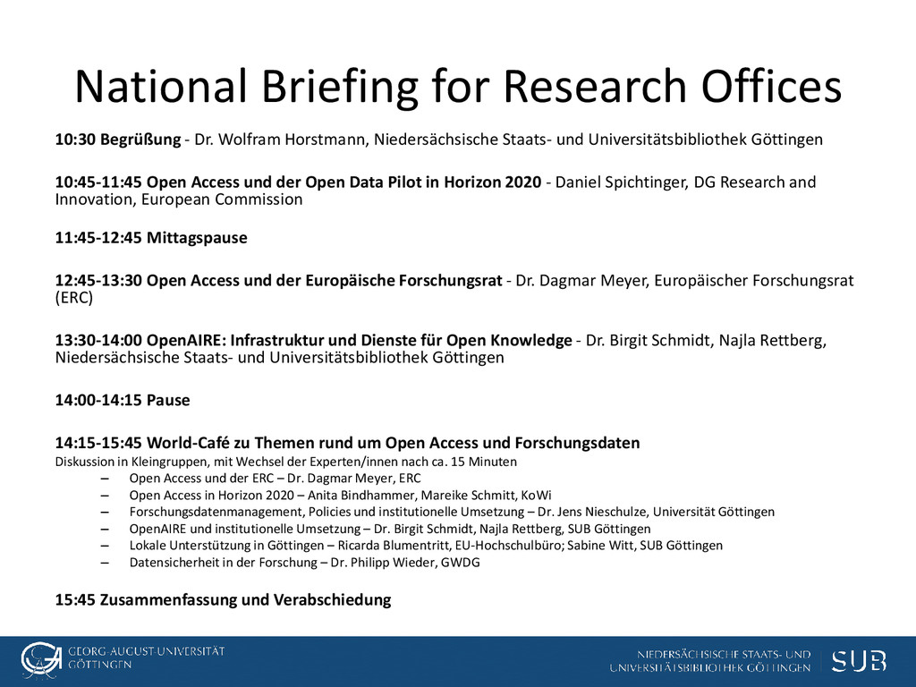 National Briefing for Research Offices 10:30 Be...