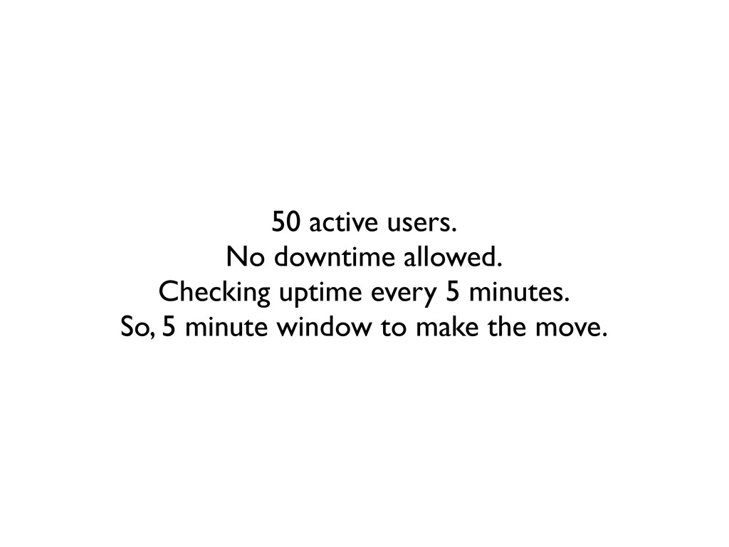 50 active users. No downtime allowed. Checking ...