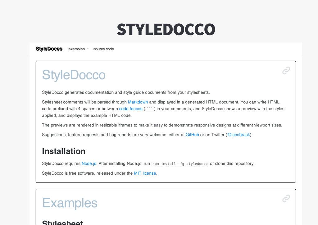 StyleDocco StyleDocco generates documentation a...