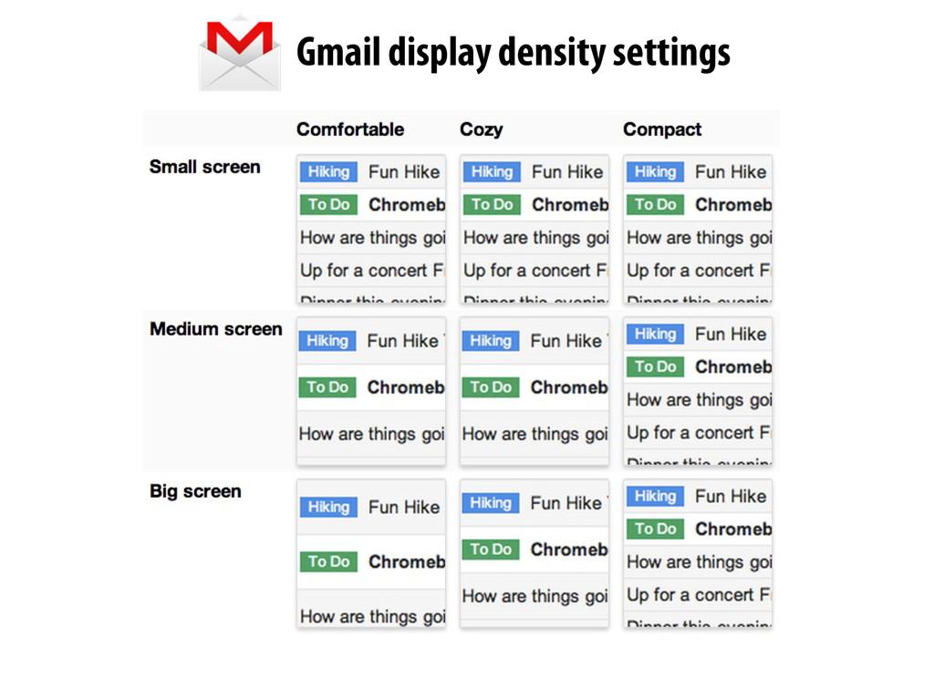 Gmail display density settings
