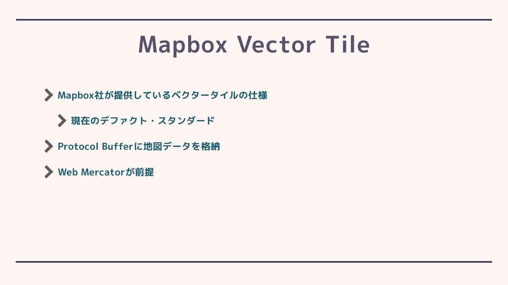 Mapbox社が提供しているベクタータイルの仕様 現在のデファクト・スタンダード Protoc...