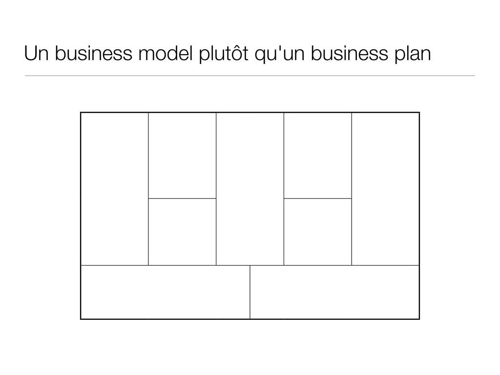 Un business model plutôt qu'un business plan
