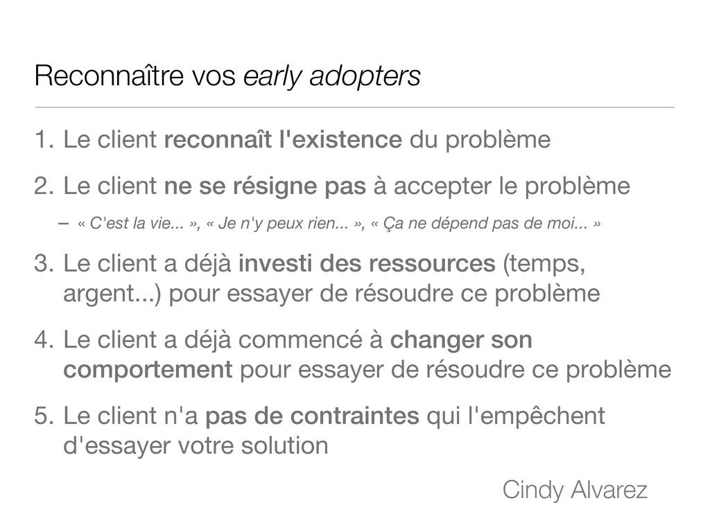 Reconnaître vos early adopters 1. Le client rec...