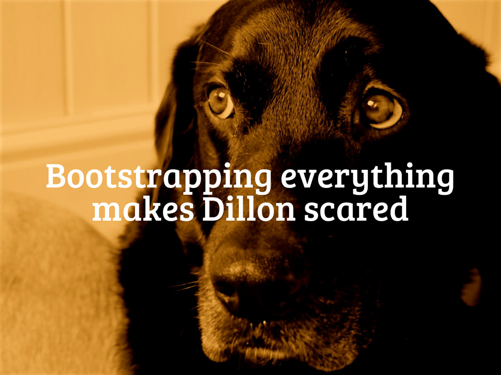 Bootstrapping everything makes Dillon scared