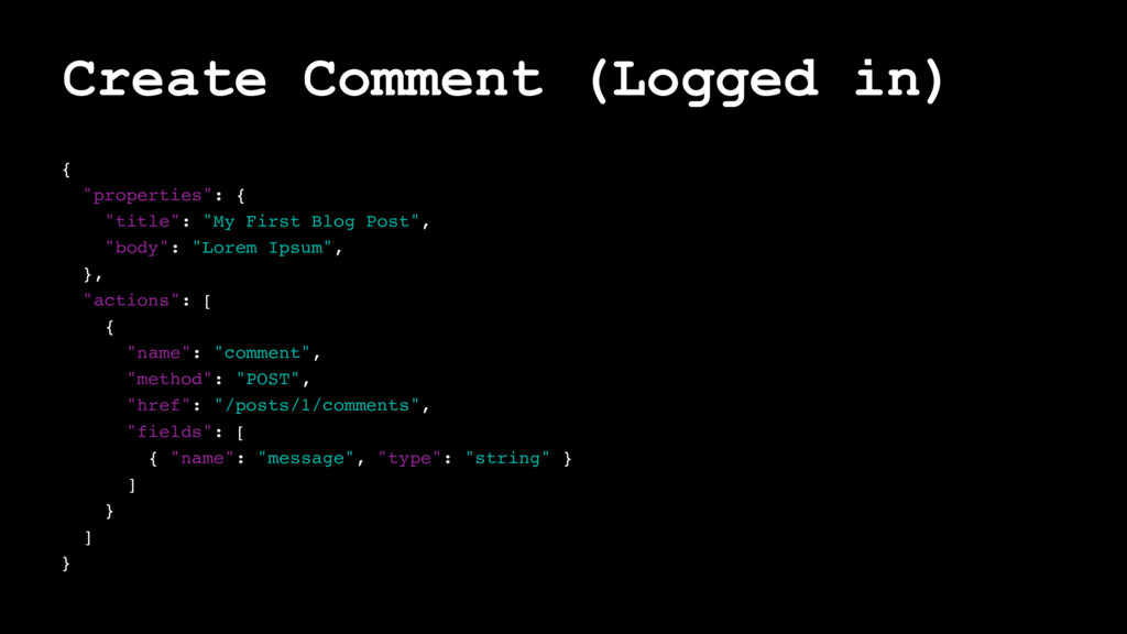 "Create Comment (Logged in) { ""properties"": { ""t..."