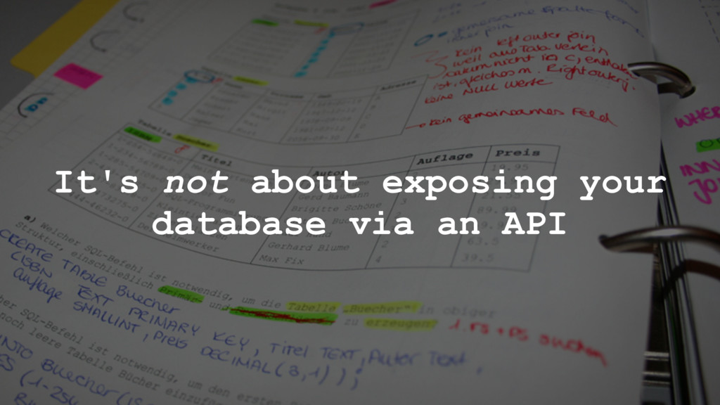 It's not about exposing your database via an API