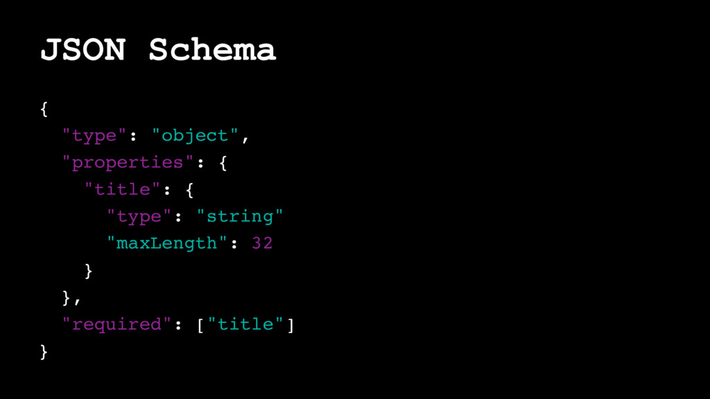 "JSON Schema { ""type"": ""object"", ""properties"": {..."