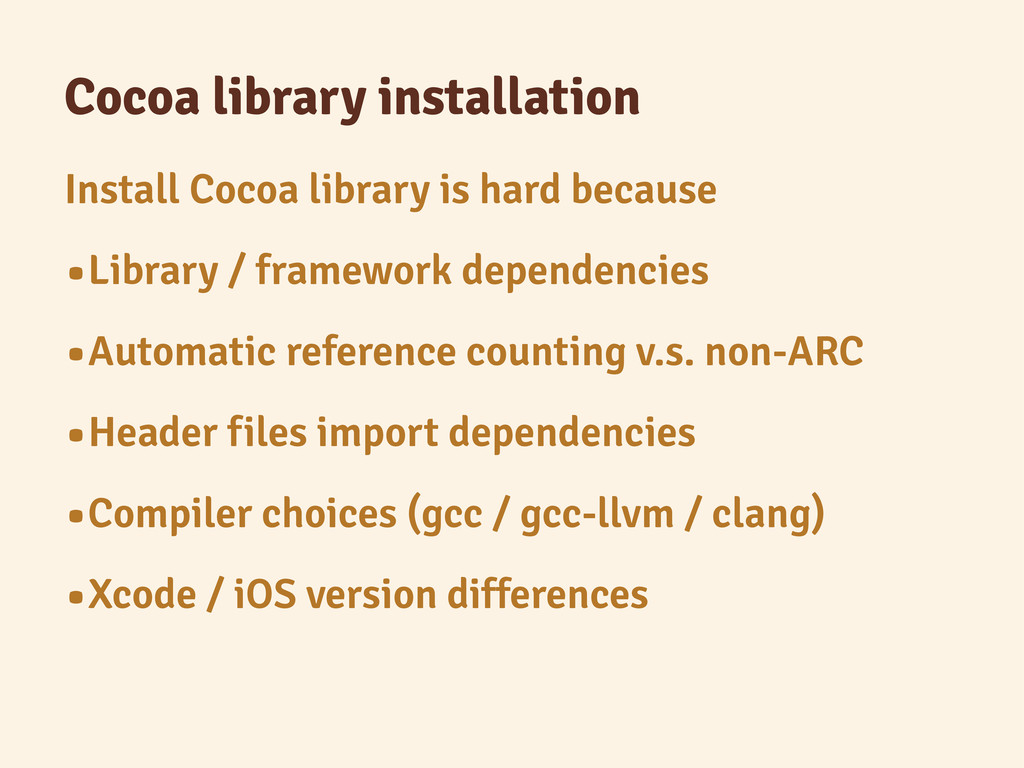 Cocoa library installation Install Cocoa librar...