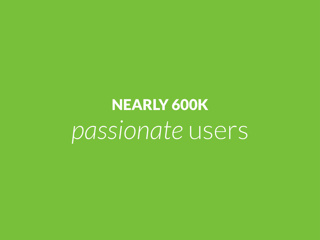 NEARLY 600K passionate users