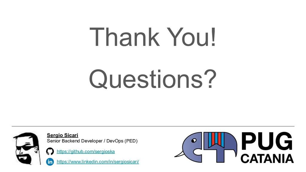 Thank You! Questions? https://www.linkedin.com/...