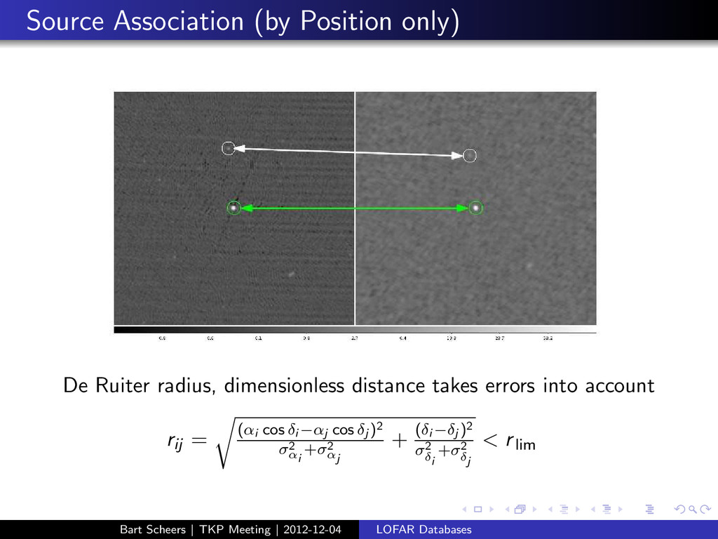 Source Association (by Position only) De Ruiter...