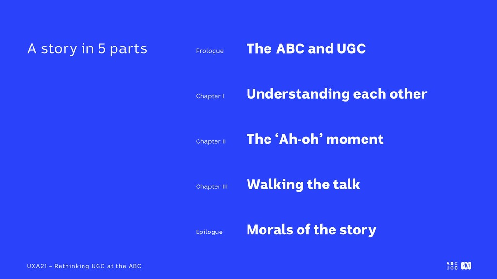 UXA21 – Rethinking UGC at the ABC The ABC and U...