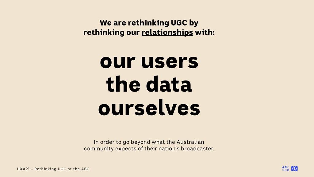 UXA21 – Rethinking UGC at the ABC We are rethin...