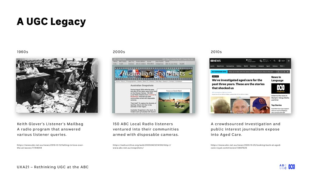 UXA21 – Rethinking UGC at the ABC A UGC Legacy ...