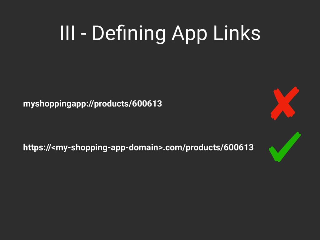 III - Defining App Links myshoppingapp://product...