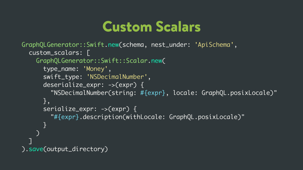 Custom Scalars GraphQLGenerator::Swift.new(sche...