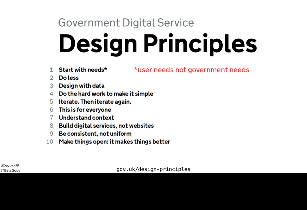 #DevoxxFR @BetaGouv gov.uk/design-principles L'...