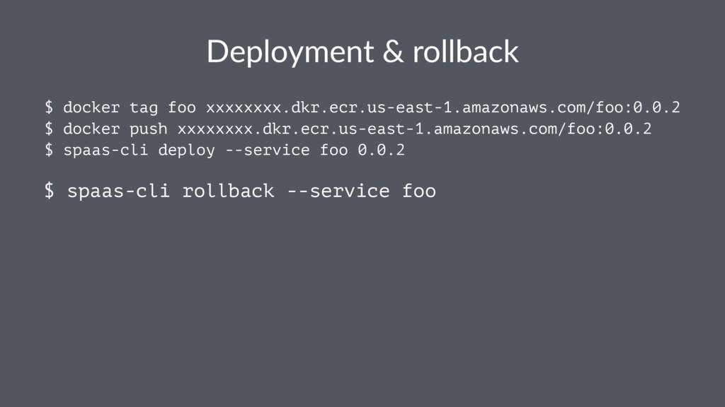 Deployment & rollback $ docker tag foo xxxxxxxx...