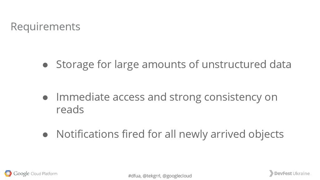 #dfua, @tekgrrl, @googlecloud ● Storage for lar...