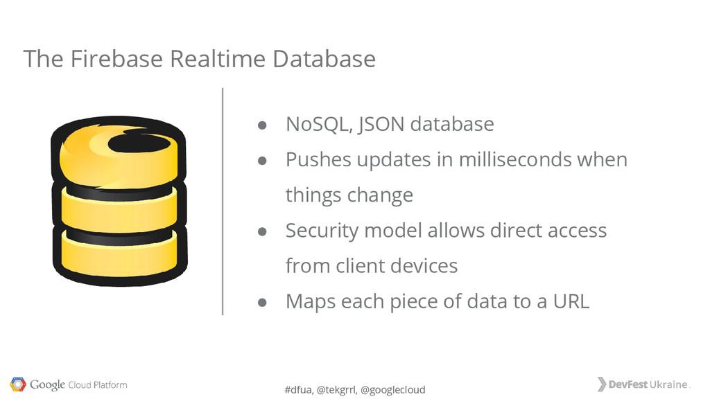#dfua, @tekgrrl, @googlecloud ● NoSQL, JSON dat...