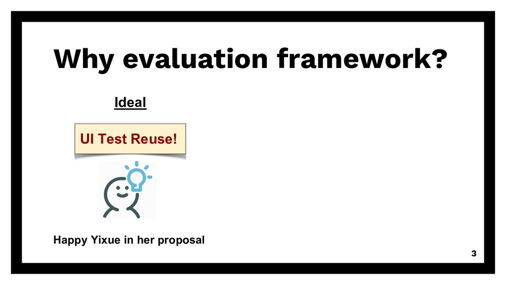 Why evaluation framework? 3 Ideal Happy Yixue i...