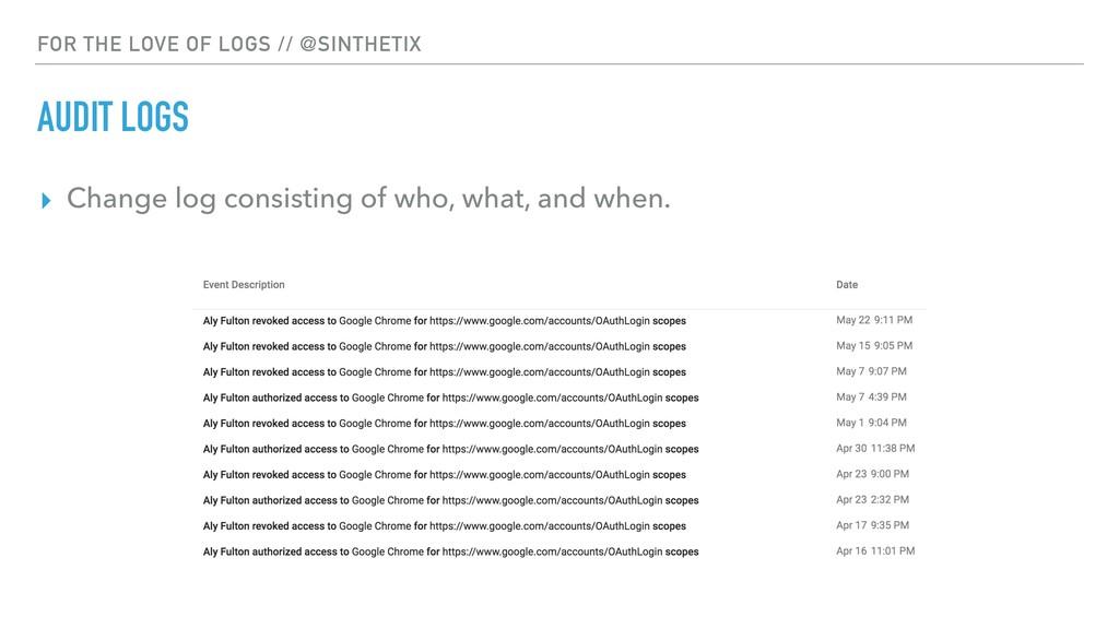 FOR THE LOVE OF LOGS // @SINTHETIX AUDIT LOGS ▸...