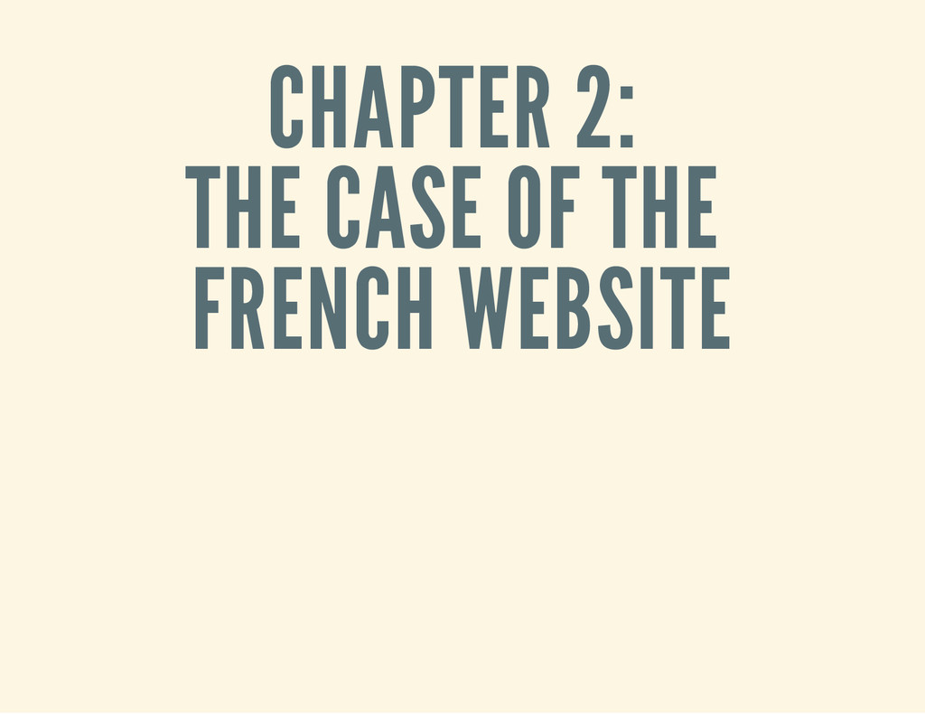 CHAPTER 2: THE CASE OF THE FRENCH WEBSITE