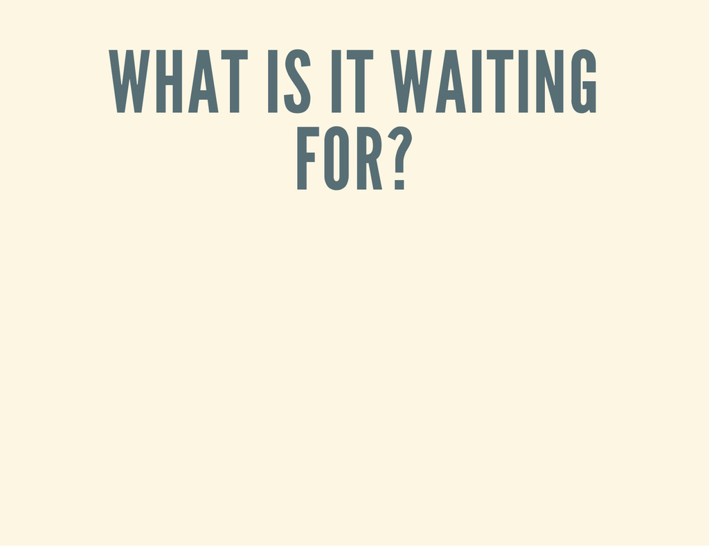 WHAT IS IT WAITING FOR?