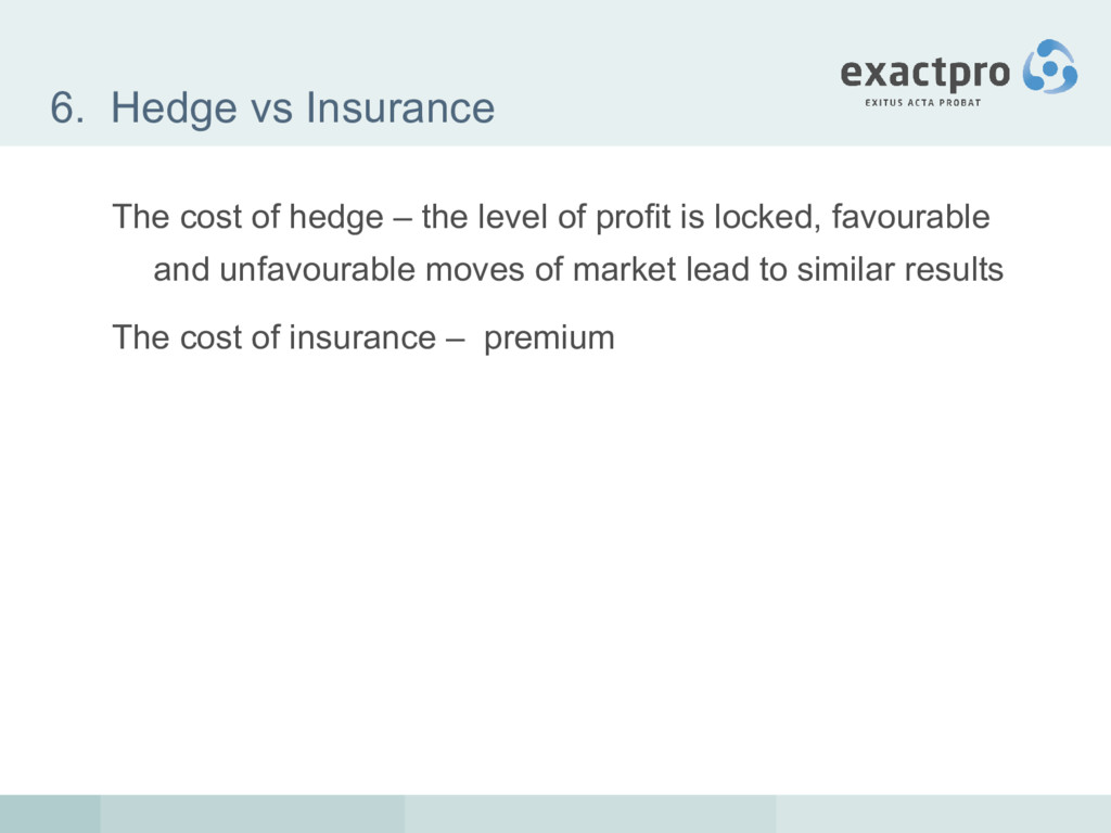 6. Hedge vs Insurance The cost of hedge – the l...