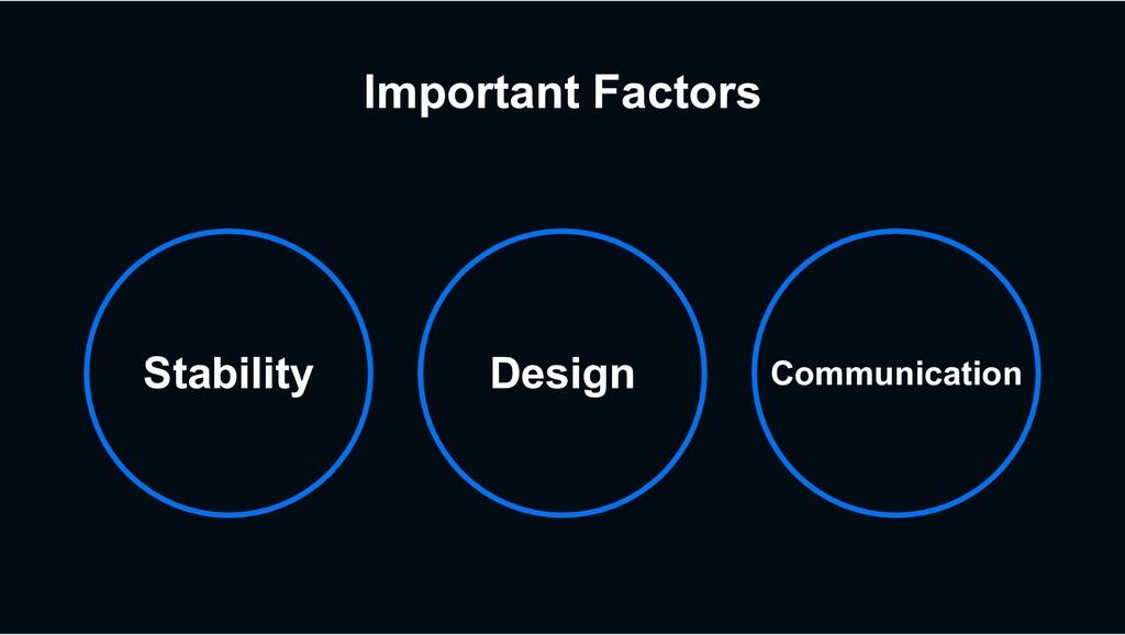 Important Factors Stability Design Communication