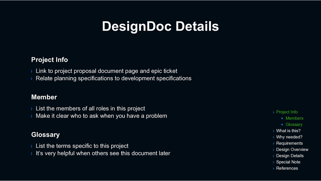 DesignDoc Details › List the members of all rol...