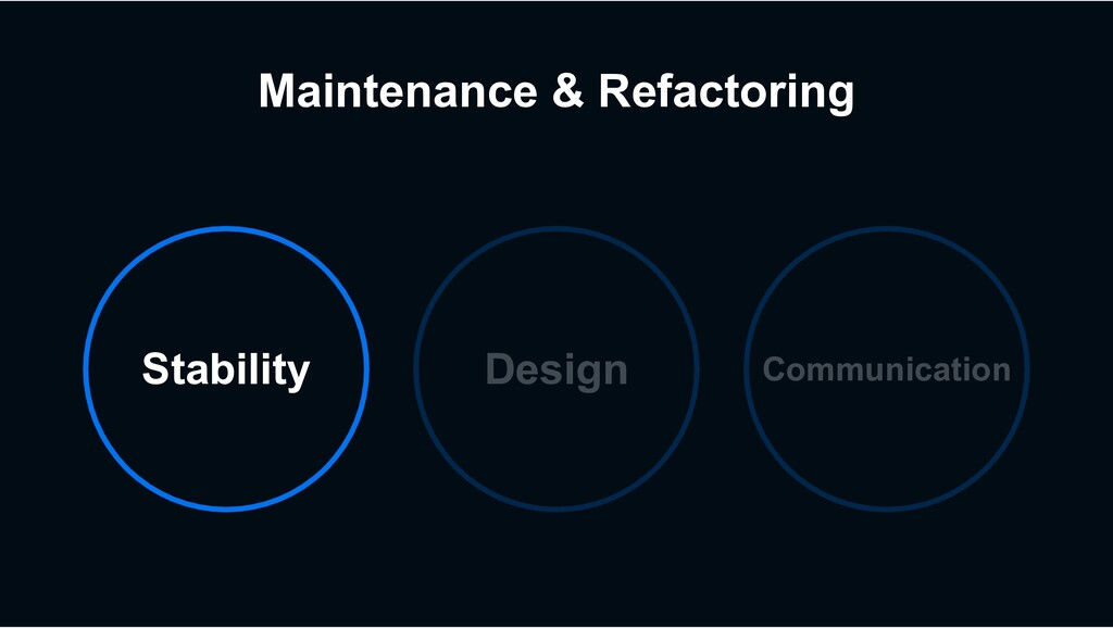 Maintenance & Refactoring Stability Design Comm...