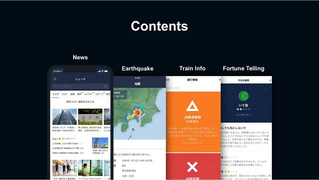 Contents News Earthquake Train Info Fortune Tel...